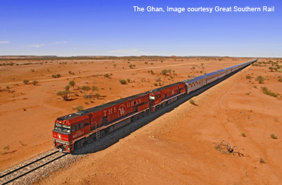 Train from Adelaide to Darwin, the Ghan